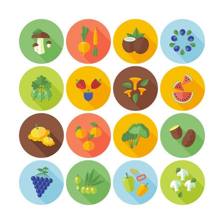 Set of flat design circle icons for fruits, vegetables and  mushrooms.