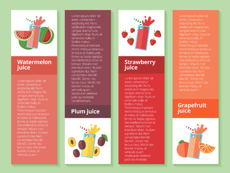 shakes: Fruit smoothie collection. Menu element for cafe or restaurant with energetic fresh drink made in flat style. Fresh juice for healthy life. Organic raw shakes.