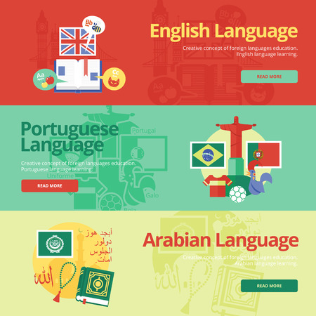 dialect: Flat design banners for english, portuguese, arabian. Foreign languages education concepts for web banners and print materials.