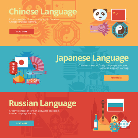 dialect: Flat banners for chinese, japanese, russian.