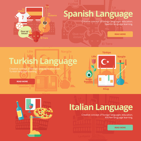 dialect: Flat banners for spanish, turkish, italian.