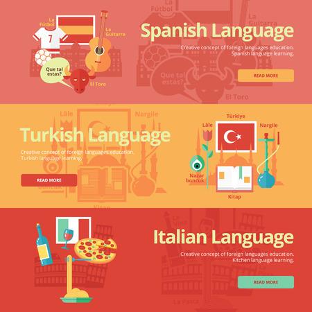 talking dictionary: Flat banners for spanish, turkish, italian.