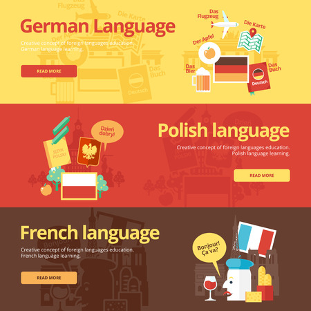dialect: Flat banners for german, polish, french. Illustration