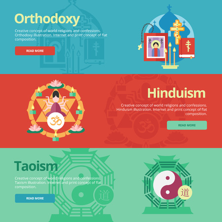 taoism: Flat banner concepts for orthodoxy, hinduism, taoism. Illustration