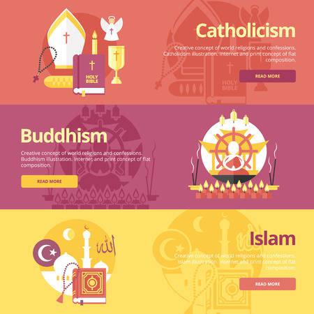 Flat banner concepts for islam, buddhism, catholicism. Vector
