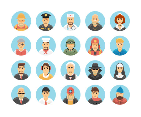 cartoon gangster: Persons icons collection. Icons set illustrating people occupations, lifestyles, nations and cultures.