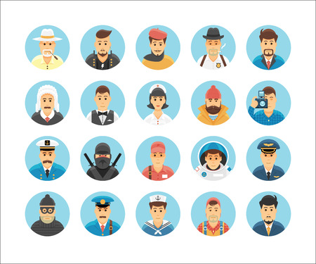 female police: Persons icons collection. Icons set illustrating people occupations, lifestyles, nations and cultures.