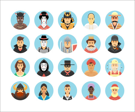 Persons icons collection. Icons set illustrating people occupations, lifestyles, nations and cultures. Vector