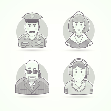 body guard: Police officer, maid, body guard, call operator icons. Avatar and person illustrations. Flat black and white outlined style.