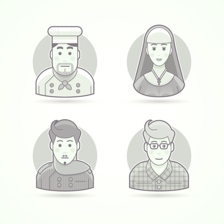 black nun: Cook, nun, stylist and designer icons. Avatar and person illustrations. Flat black and white outlined style. Illustration