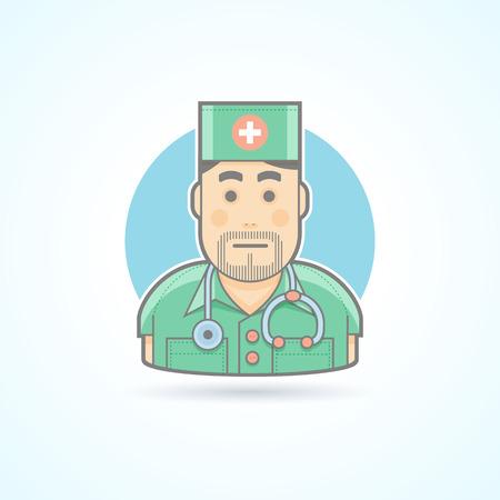 enfermera caricatura: Doctor, m�dico, icono cirujano. Avatar y persona de ilustraci�n. Piso de color estilo esbozado.