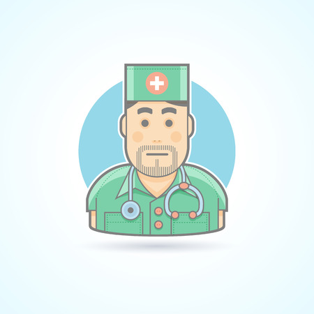 nurse cartoon: Doctor, medic, surgeon icon. Avatar and person illustration. Flat colored outlined style.