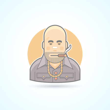 office theft: Criminal, gangster, bouncer icon. Avatar and person illustration. Flat colored outlined style.