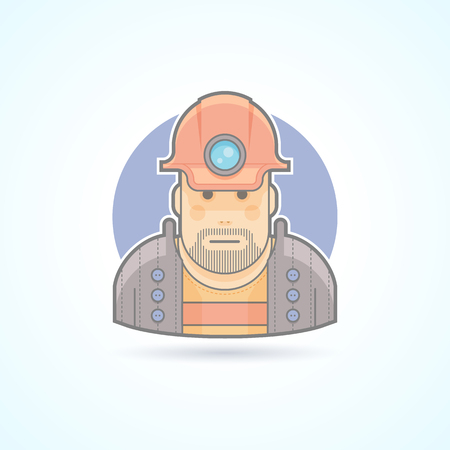 mines: Miner, worker icon. Avatar and person illustration. Flat colored outlined style.