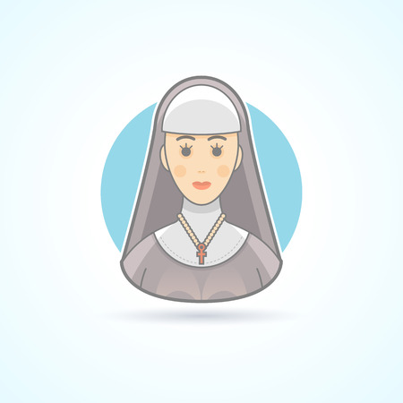 cowl: Nun, sister, cloitress icon. Avatar and person illustration. Flat colored outlined style.