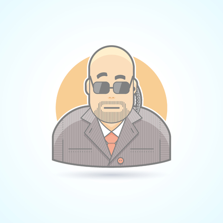 body guard: Body guard, security, bouncer, secret service agent icon. Avatar and person illustration. Flat colored outlined style.