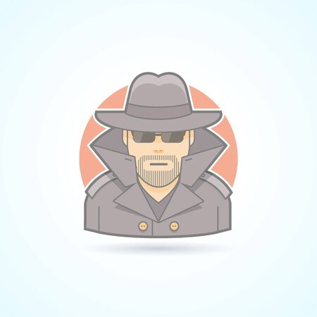shadowing: Spy, secret service agent, detective icon. Avatar and person illustration. Flat colored outlined style. Illustration
