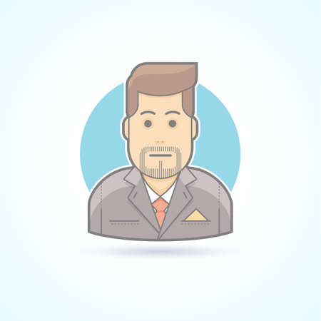 sales manager: Manager, broker, sales agent icon. Avatar and person illustration. Flat colored outlined style. Illustration