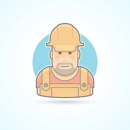 headman: Worker, repairman, master icon. Avatar and person illustration. Flat colored outlined style.
