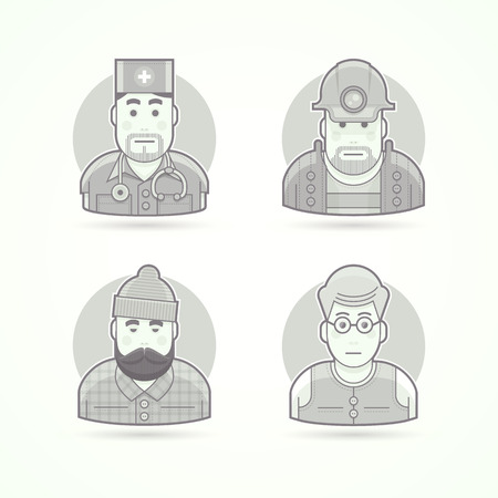 mines: Doctor, mines worker, lumberjack, teacher icons. Avatar and person illustrations. Flat black and white outlined style.