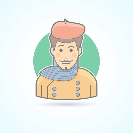 beau: Artist, painter, designer icon. Avatar and person illustration. Flat colored outlined style.