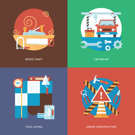 Vector constructing carft, services and decoration set for web design and mobile apps. Illustration for wood craft, car repair, tiles laying and under construction sign.