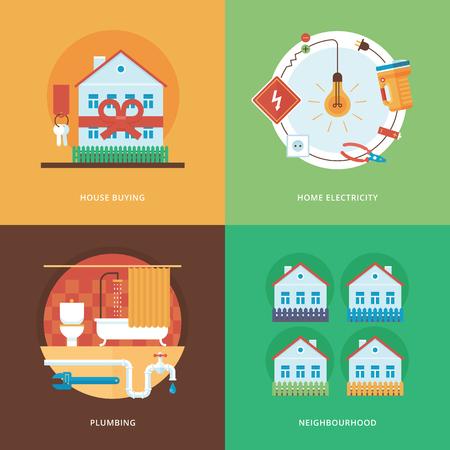 cañerías: La construcción del vector, la industria de la construcción y el desarrollo conjunto para el diseño web y aplicaciones móviles. Ilustración para la compra de casa, la electricidad en casa, fontanería y vecindario.