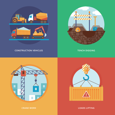 loads: Vector constructing, industry of building and development set for web design and mobile apps. Illustration for construction vehicles, tench digging, crane work and loads lifting.