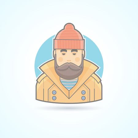 angler: Fisherman, angler icon. Avatar and person illustration. Flat colored outlined style.