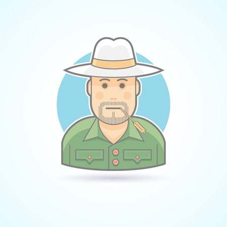 rancher: Farmer, gardener, rancher icon. Avatar and person illustration. Flat colored outlined style.