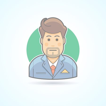 bookkeeper: Clerk, suitman, agent icon. Avatar and person illustration. Flat colored outlined style. Illustration