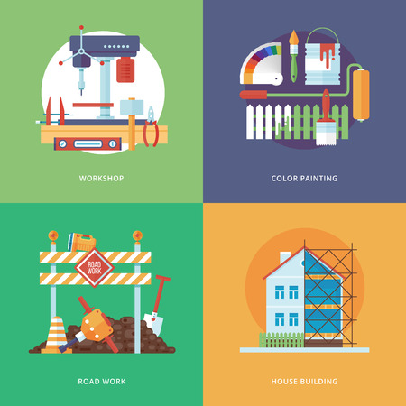herramientas de construccion: La construcci�n del vector, la industria de la construcci�n y el desarrollo conjunto para el dise�o web y aplicaciones m�viles. Ilustraci�n para el taller de metal, la pintura de color, el trabajo de carreteras y la construcci�n de viviendas.