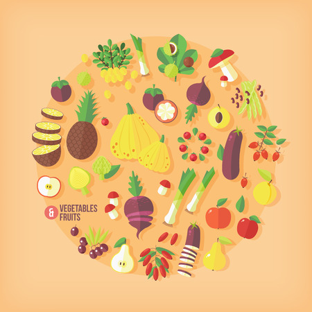 pine apple: Fruits and vegetables vector icons collection. Flat modern style.