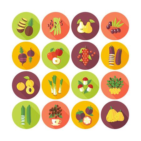 과일 및 야채에 대 한 평면 디자인 아이콘의 집합입니다.