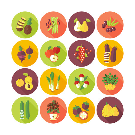 Set of flat design icons for fruits and vegetables. Çizim