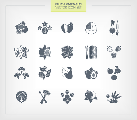 sliced tree: Fruit and Vegetables icon set. Black silhouettes on wihte background.