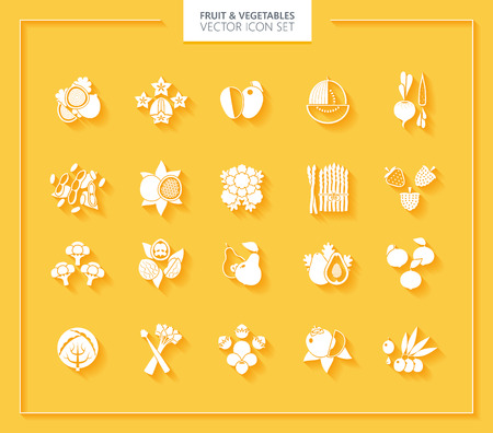 sliced tree: Fruit and Vegetables icon set. White silhouettes with soft shadows.