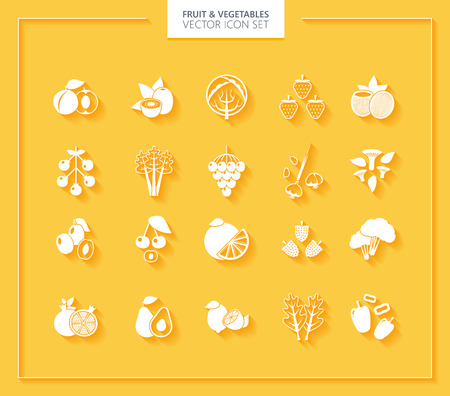 tropical fruits: Fruit and Vegetables icon set. White silhouettes with soft shadows.