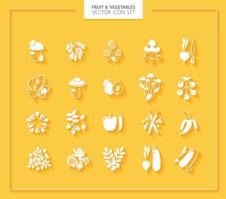 frutas tropicales: Frutas y Hortalizas conjunto de iconos. Blanco siluetas con sombras suaves.
