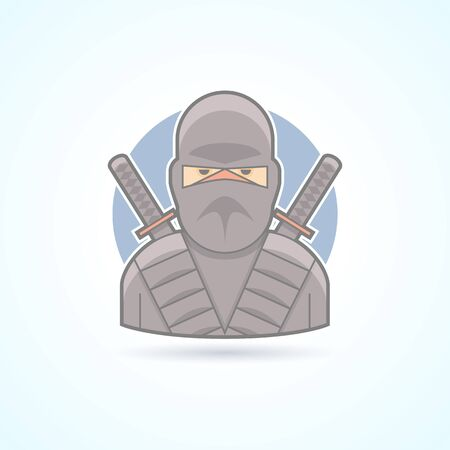 swordsman: Ninja, shadow warrior, swordsman icon. Avatar and person illustration. Flat colored outlined style.