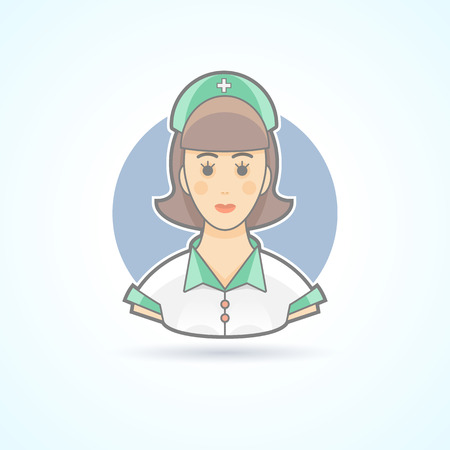nanny: Nurse, nanny, paramedic icon. Avatar and person illustration. Flat colored outlined style.