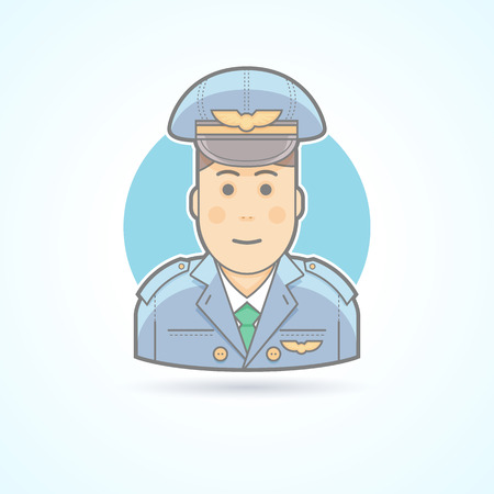 aviator: Airplane pilot, aviator icon. Avatar and person illustration. Flat colored outlined style.