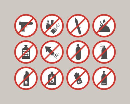 금지 된 수하물 항목. 공항 제한. 비행기에 대한 위험한 물건. 벡터 아이콘 모음. 일러스트