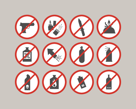 restrictions: Prohibited luggage items. Airport restrictions. Dangerous stuff for airplane. Vector icons collection.