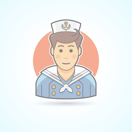 mariner: Cabin boy, mariner, sailor icon. Avatar and person illustration. Flat colored outlined style.