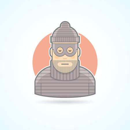 ladron: Ladrón, penal, icono ladrón. Avatar y persona de ilustración. Piso de color estilo esbozado. Vectores