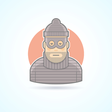 marauder: Thief, criminal, robber icon. Avatar and person illustration. Flat colored outlined style.