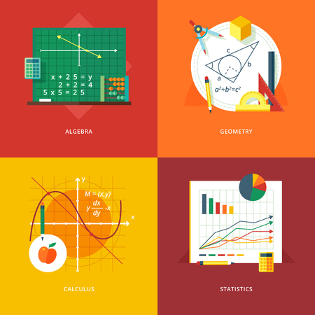 Conjunto de conceptos de diseño ilustración planas para el álgebra, geometría, cálculo, estadística. Educación y el conocimiento ideas. la ciencia matemática. Conceptos para la bandera de la tela y material promocional. Ilustración de vector