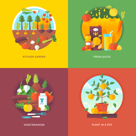 kitchen garden: Set of flat design illustration concepts for kitchen garden, fresh juices, vegetarianism and plant in a pot. Fruit and vegetables horticulture. Concepts for web banner and promotional material.