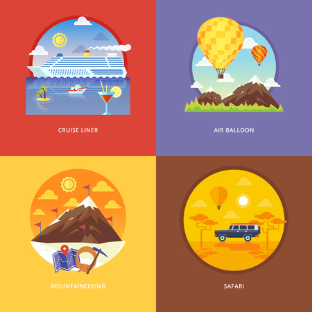 mountaineering: Set of flat design illustration concepts for cruise liner, air balloon, mountaineering, African . Recreation, holiday trip, tourism, traveling. Concepts for web banner and promotional material. Illustration